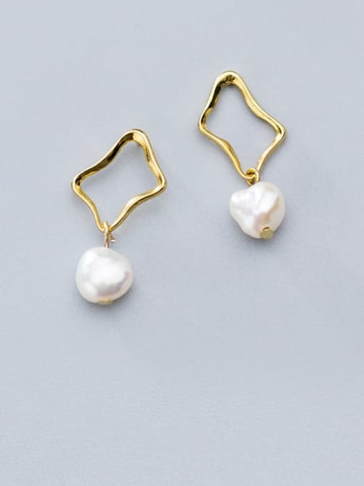 Rosh 925 Sterling Silver Imitation Pearl Hollow Geometric Minimalist Drop Earring