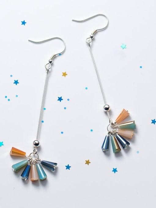 long 925 Sterling Silver Cubic Zirconia Multi Color Geometric Trend Hook Earring