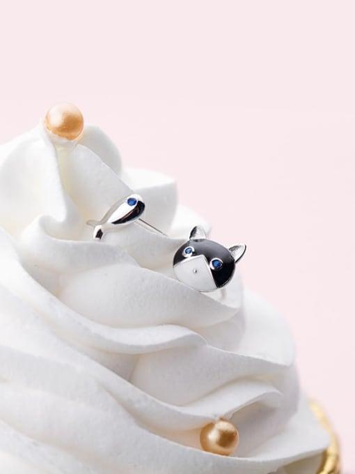 Rosh 925 sterling silver enamel cat minimalist stud earring 3