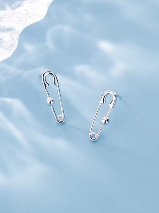 Rosh 925 Sterling Silver Geometric Minimalist paper clip Stud Earring 0