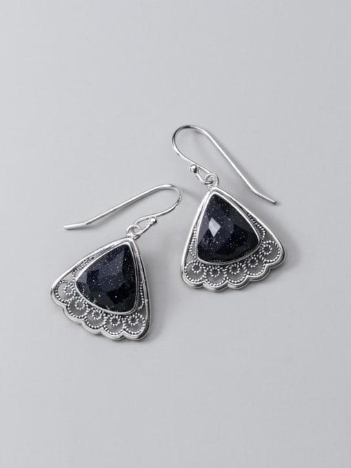 Rosh 925 Sterling Silver Resin Black Triangle Vintage Hook Earring