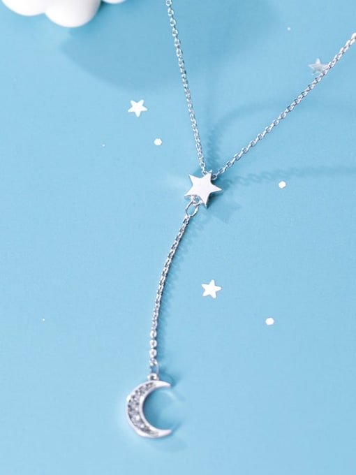Rosh 925 Sterling Silver  Minimalist Simple and stylish diamond  moon Y-shaped star necklace 2