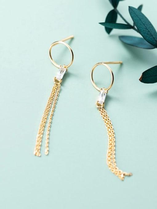Rosh 925 Sterling Silver Rhinestone Simple ring with diamond tassel  Vintage Threader Earring 3