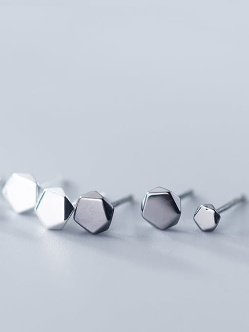 Rosh 925 Sterling Silver Hexagon Minimalist Stud Earring 2