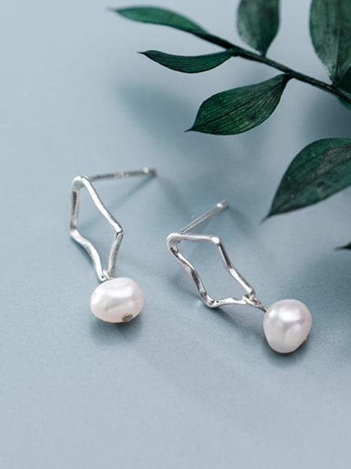 Rosh 925 Sterling Silver Imitation Pearl Hollow Geometric Minimalist Drop Earring 3