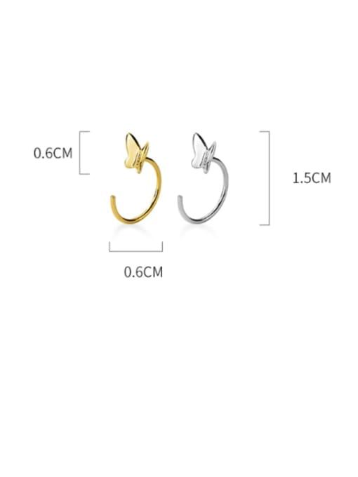Rosh 925 Sterling Silver Butterfly Minimalist Huggie Earring 3