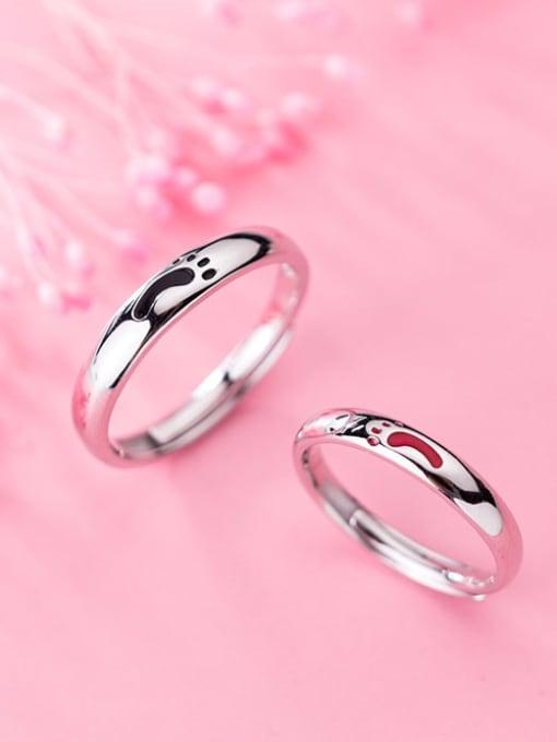 Rosh 925 Sterling Silver Enamel Minimalist  Footprint Free Size Ring 1