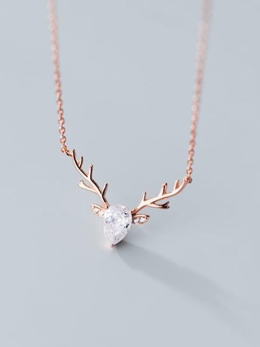 Rosh 925 Sterling Silver  Minimalist  Elk pattern horn pendant Necklace 0