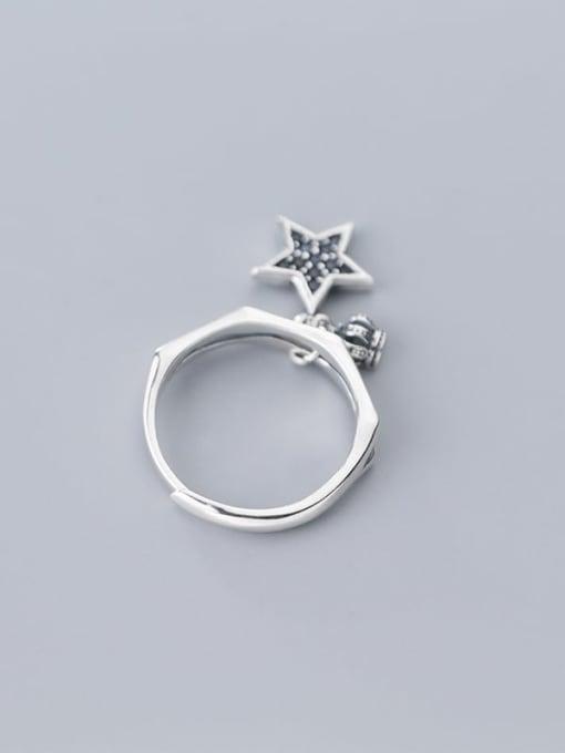 Rosh 925 Sterling Silver  Vintage  Fashion crown pentagram Free Size Ring 2