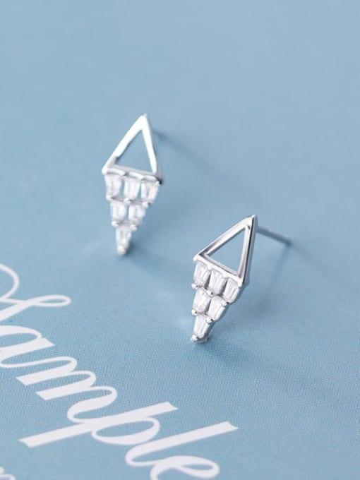 Rosh 925 sterling silver square  cubic zirconia  minimalist stud earring 0