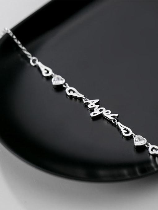 Rosh 925 Sterling Silver Cubic Zirconia  Letter Minimalist Bracelet 1