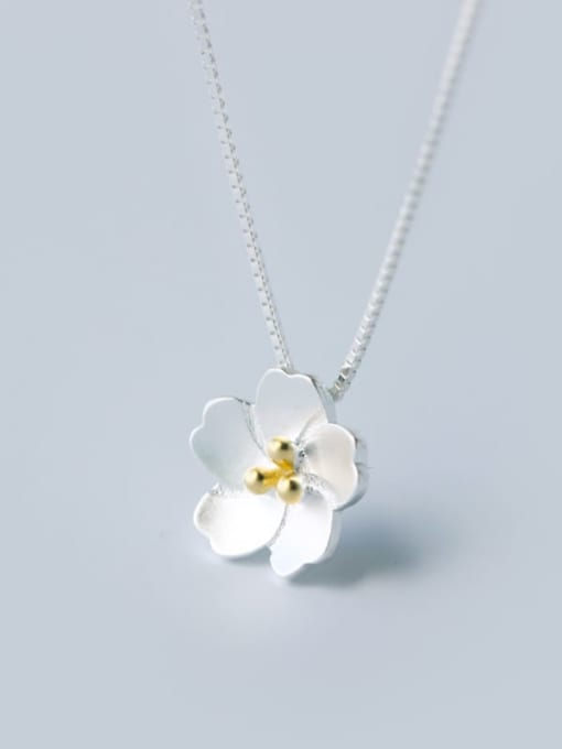 Necklace 925 Sterling Silver Flower Minimalist Necklace