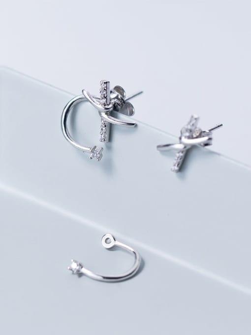 Rosh 925 sterling silver rhinestone bowknot trend stud earring