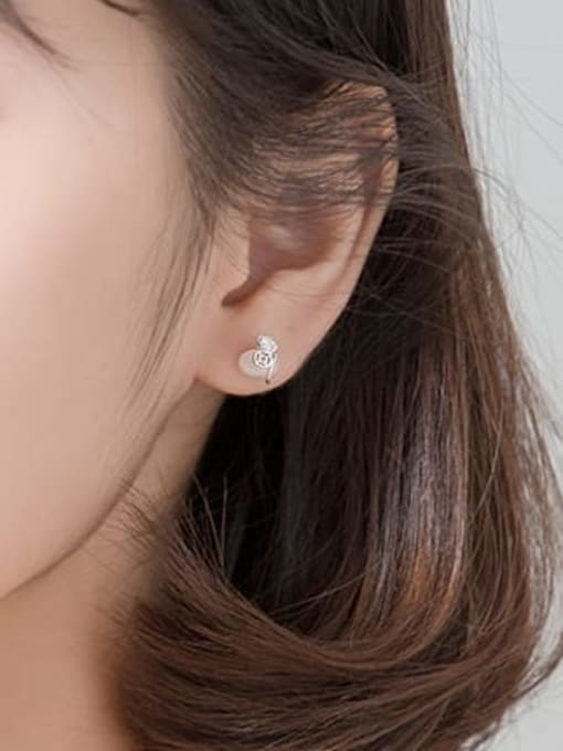 Rosh 925 Sterling Silver Cats Eye Beige Irregular Minimalist Stud Earring 2