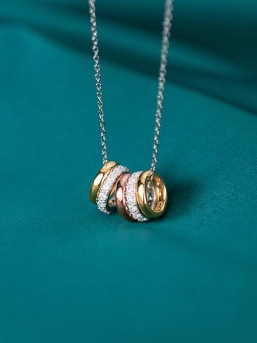 Rosh 925 Sterling Silver Rhinestone Fashion Diamonds Multiple Color Rings Pendants Necklace 2