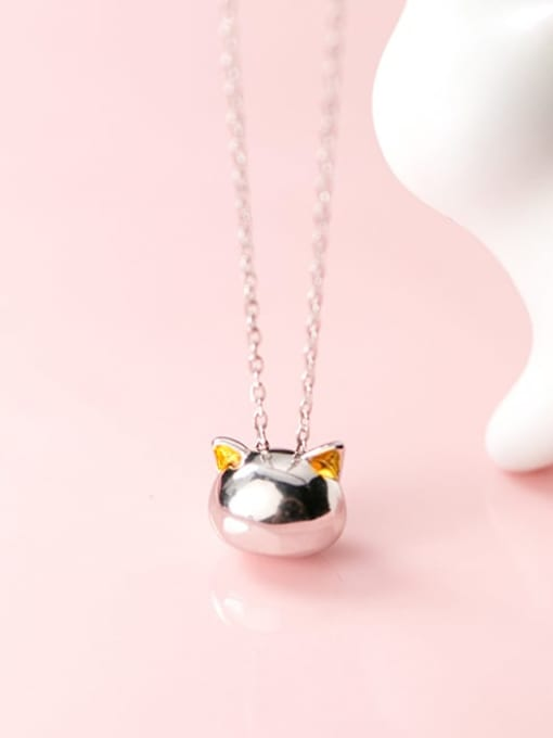 Rosh 925 Sterling Silver Cute hollow cat pendant Necklace
