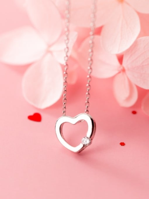 Rosh 925 Sterling Silver Rhinestone Fashion simple heart  Necklace 2