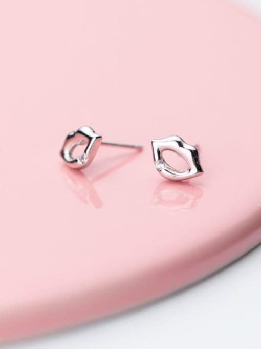 Rosh 925 Sterling Silver Mouth Minimalist Stud Earring