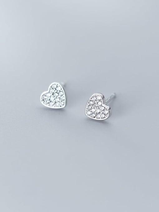 Rosh 925 Sterling Silver Cubic Zirconia White Heart Cute Stud Earring 1