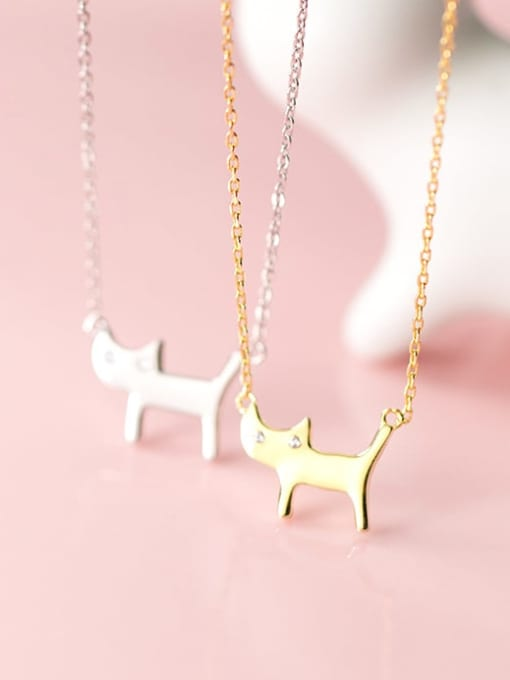 Rosh 925 Sterling Silver Cute Diamond cat  Pendant  Necklace