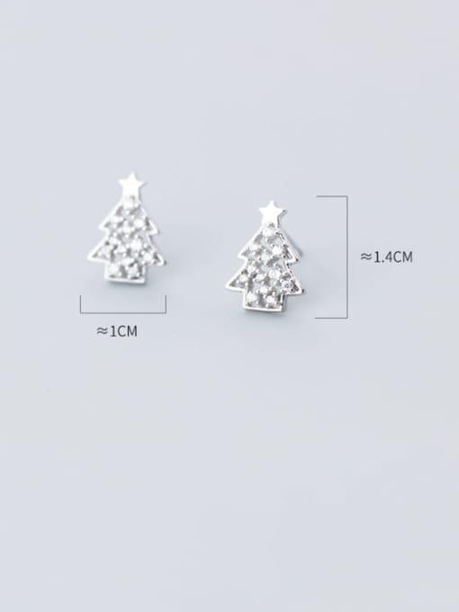 Rosh 925 Sterling Silver Rhinestone  Christmas tree Minimalist Stud Earring 3