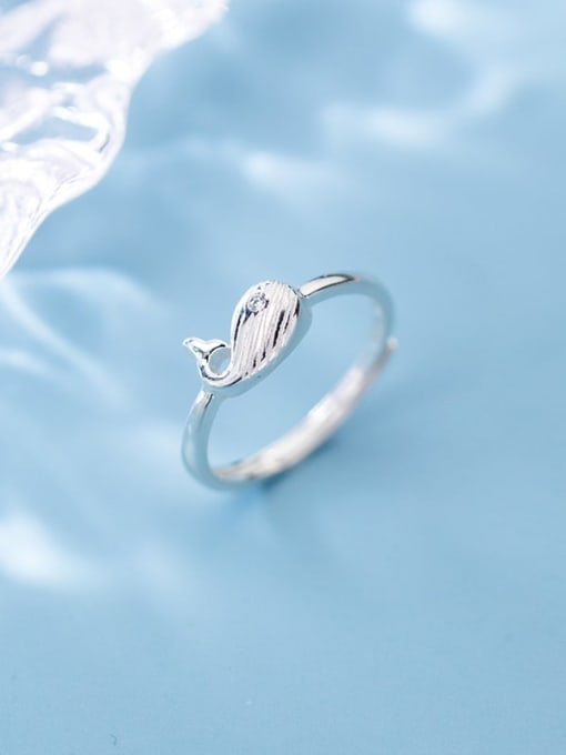 Rosh 925 sterling silver fish minimalist free size ring 3