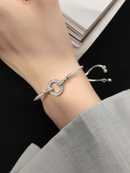 Rosh 925 Sterling Silver Fashion Micro Inlay Row Diamond Round Bracelet Bracelet 1