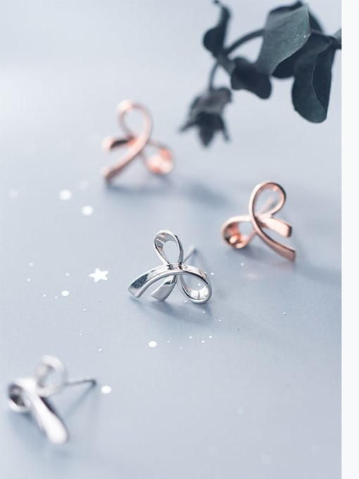 Rosh 925 Sterling Silver   Minimalist  Flowers Stud Earring 2
