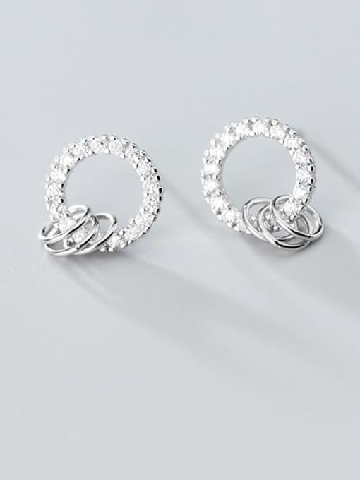 Rosh 925 Sterling Silver Cubic Zirconia  Round Minimalist Stud Earring 2