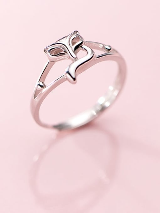 Rosh 925 Sterling Silver Hollow Fox Cute Free Size Ring 0