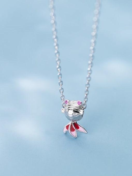 Rosh 925 Sterling Silver  Cute Diamond Gold Fish Pendant Necklace 1