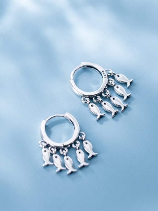 Rosh 925 Sterling Silver Many creative fish Classic Huggie Earring