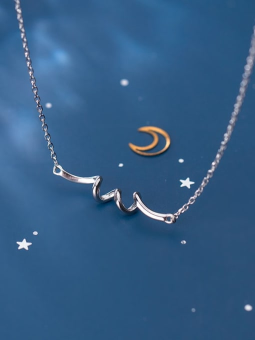 Rosh 925 sterling silver Fashion simple rotating spiral necklace 0