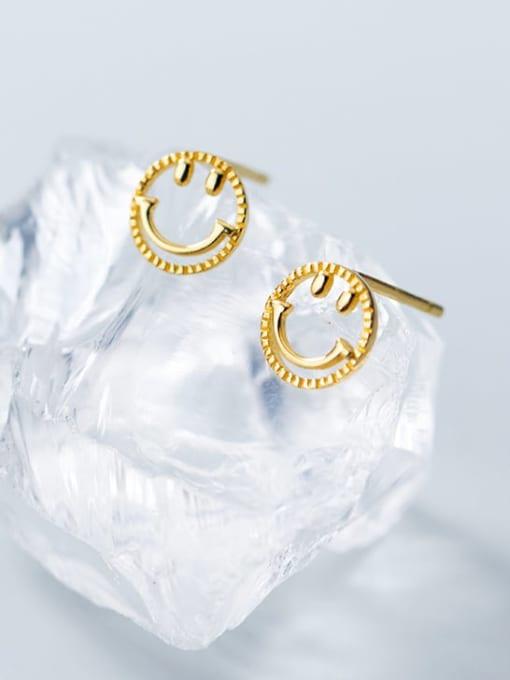 Rosh 925 Sterling Silver  Minimalist  Simple golden smiley Stud Earring 3