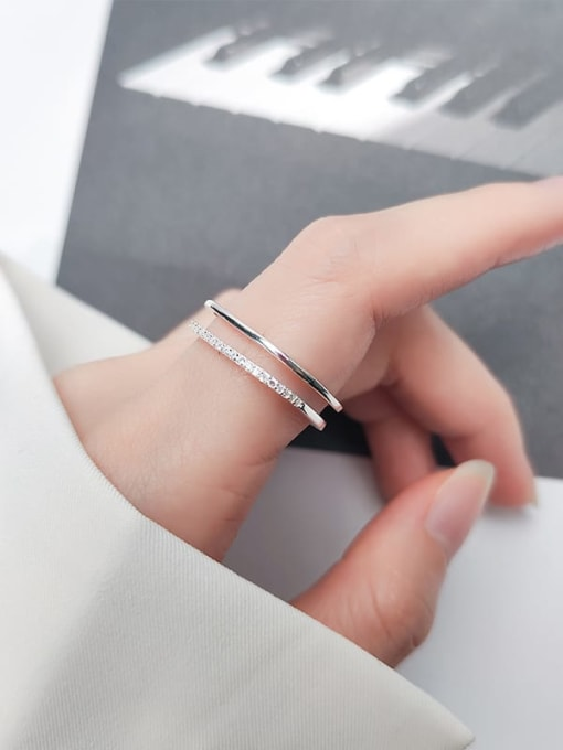 Rosh 925 Sterling Silver Rhinestone  Geometric Minimalist Free Size Band Ring 2