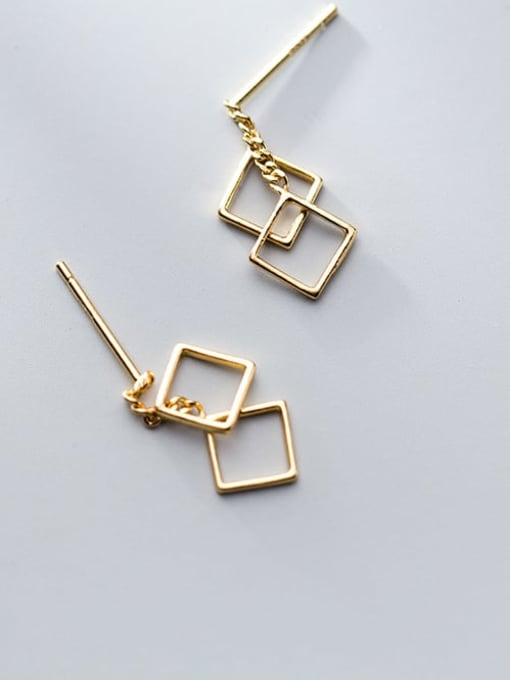 Rosh 925 Sterling Silver Hollow Square Minimalist Drop Earring 2