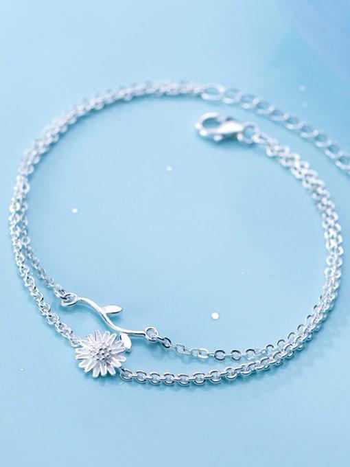 Rosh 925 sterling silver fminimalist Fashion Daisy Leaf Flower Double Bracelet