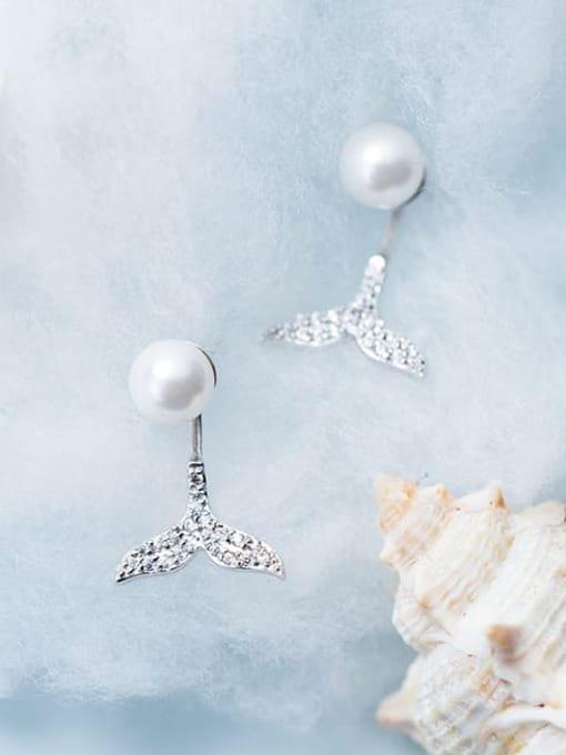 Rosh 925 Sterling Silver Imitation Pearl  Fishtail Minimalist Drop Earring 2