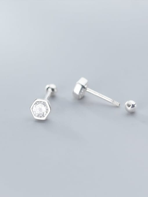 Rosh 925 Sterling Silver Round Cubic Zirconia   Minimalist Stud Earring 2