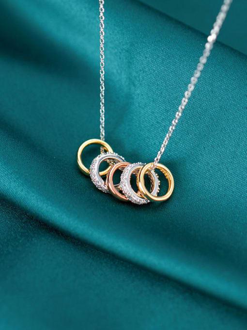 Rosh 925 Sterling Silver Rhinestone Fashion Diamonds Multiple Color Rings Pendants Necklace 0