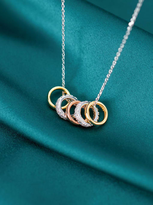 Rosh 925 Sterling Silver Rhinestone Fashion Diamonds Multiple Color Rings Pendants Necklace