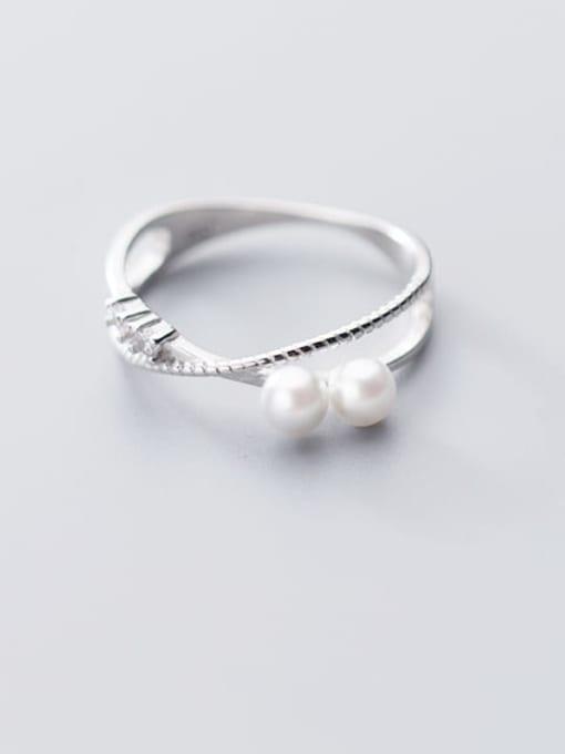 Rosh 925 sterling silver imitation pearl  cross minimalist free size ring 1