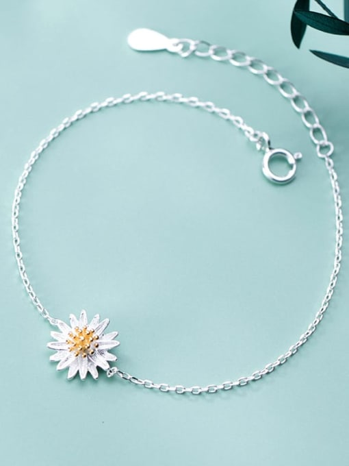 Rosh 925 Sterling Silver Flower Minimalist Link Bracelet 0