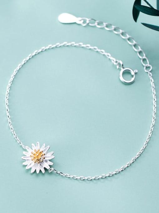Rosh 925 Sterling Silver Flower Minimalist Link Bracelet