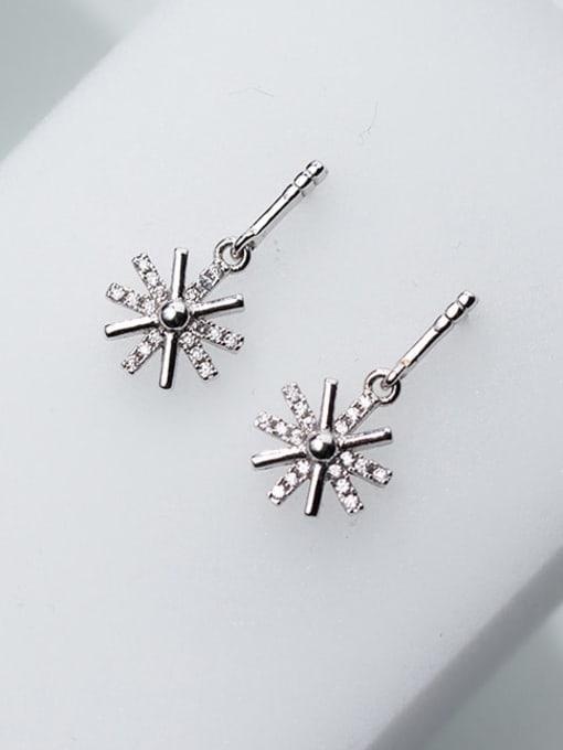 Rosh 925 Sterling Silver Cubic Zirconia Flower Minimalist Drop Earring 3