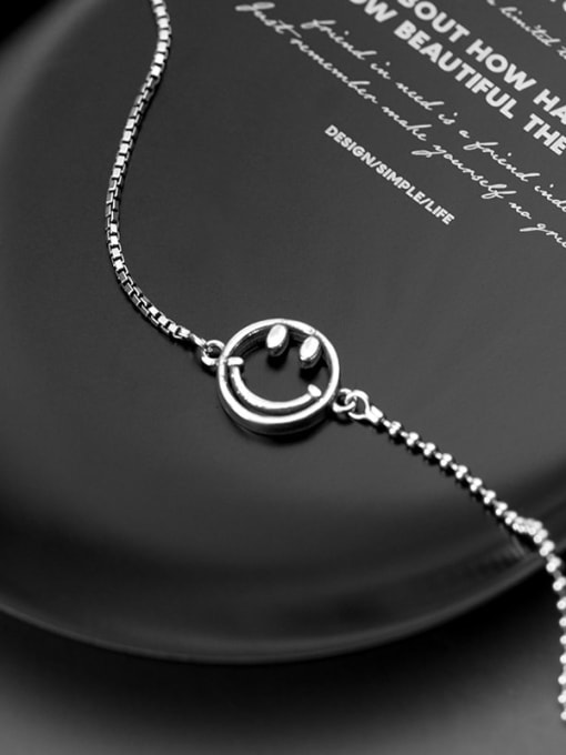Rosh 925 Sterling Silver Retro style cute smiley face chain Bracelet
