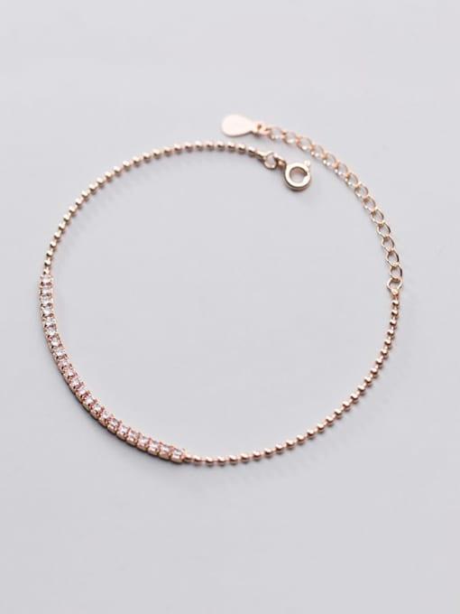 Rosh 925 Sterling Silver Cubic Zirconia  Square Minimalist Link Bracelet 4