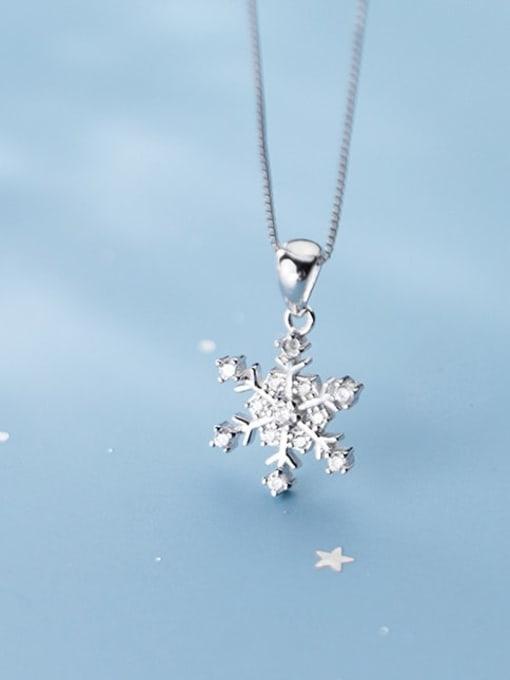 Rosh 925 Sterling Silver Simple snowflake diamond pendant 1
