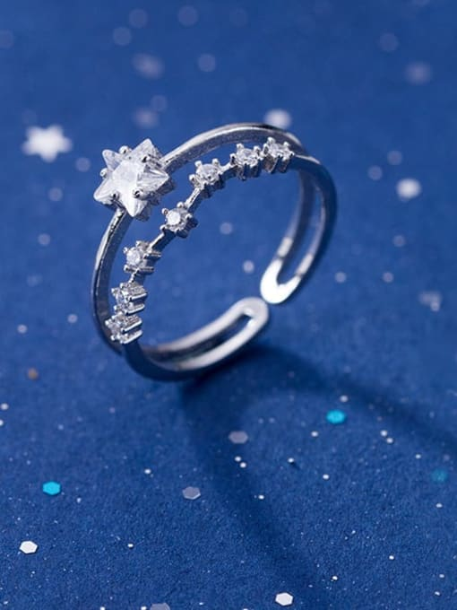 Rosh 925 Sterling Silver Cubic Zirconia White Star Minimalist Stackable Ring 0