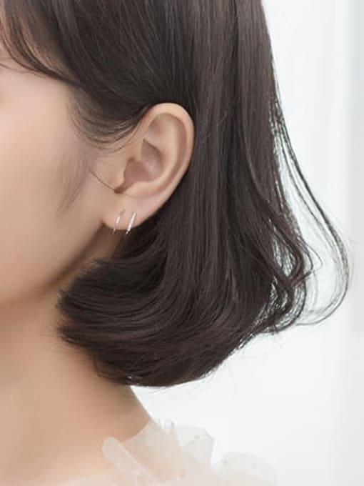 Rosh 925 Sterling Silver Cubic Zirconia  Irregular Minimalist Stud Earring 1